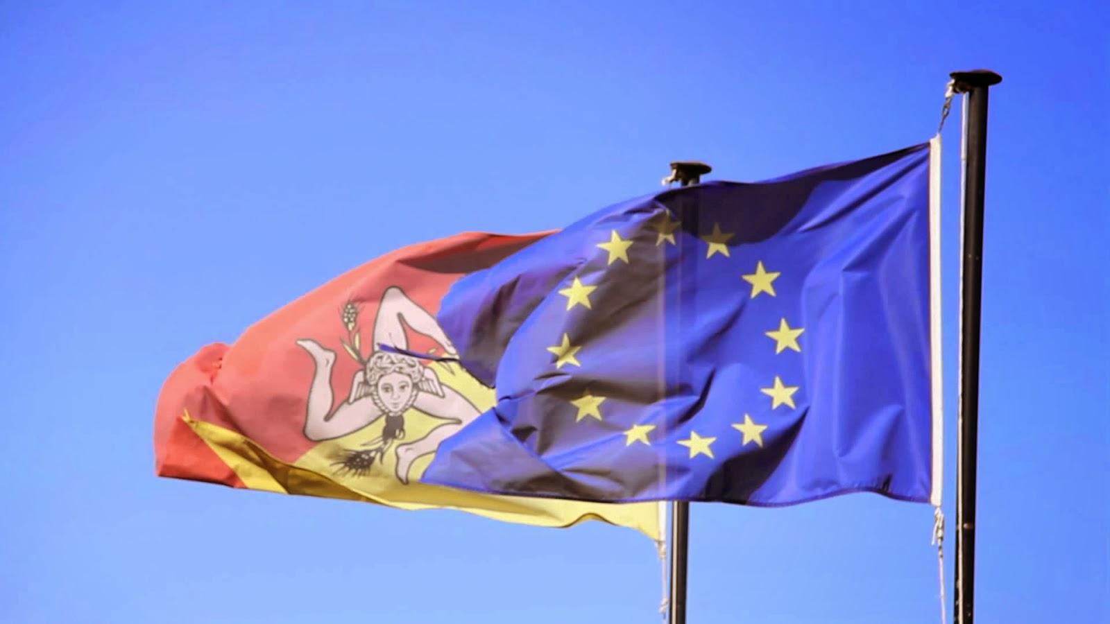 Bandiere Sicilia ed Unione Europea (www.i-pressnews.it)