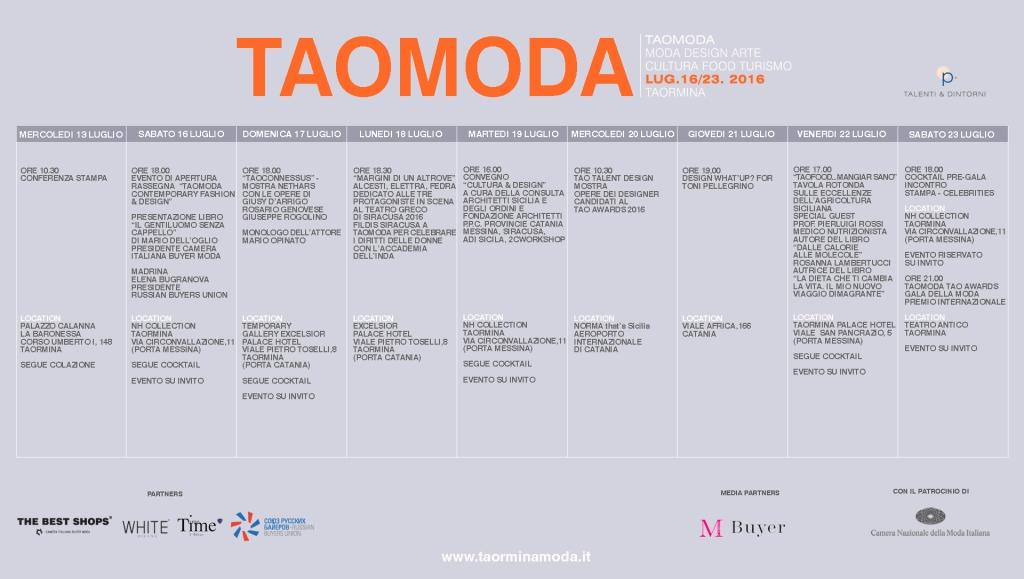 CALENDARIO TAOMODA 2016 DEFINITIVO