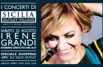 """DOMANI IRENE GRANDI AL SICILIA OUTLET CON IL TOUR """"UN VENTO SENZA NOME"""""""