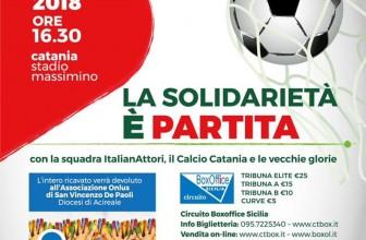LA SOLIDARIETÀ È PARTITA: IN CAMPO LA SQUADRA ITALIANATTORI, IL CATANIA CALCIO E LE VECCHIE GLORIE ROSSAZZURRE